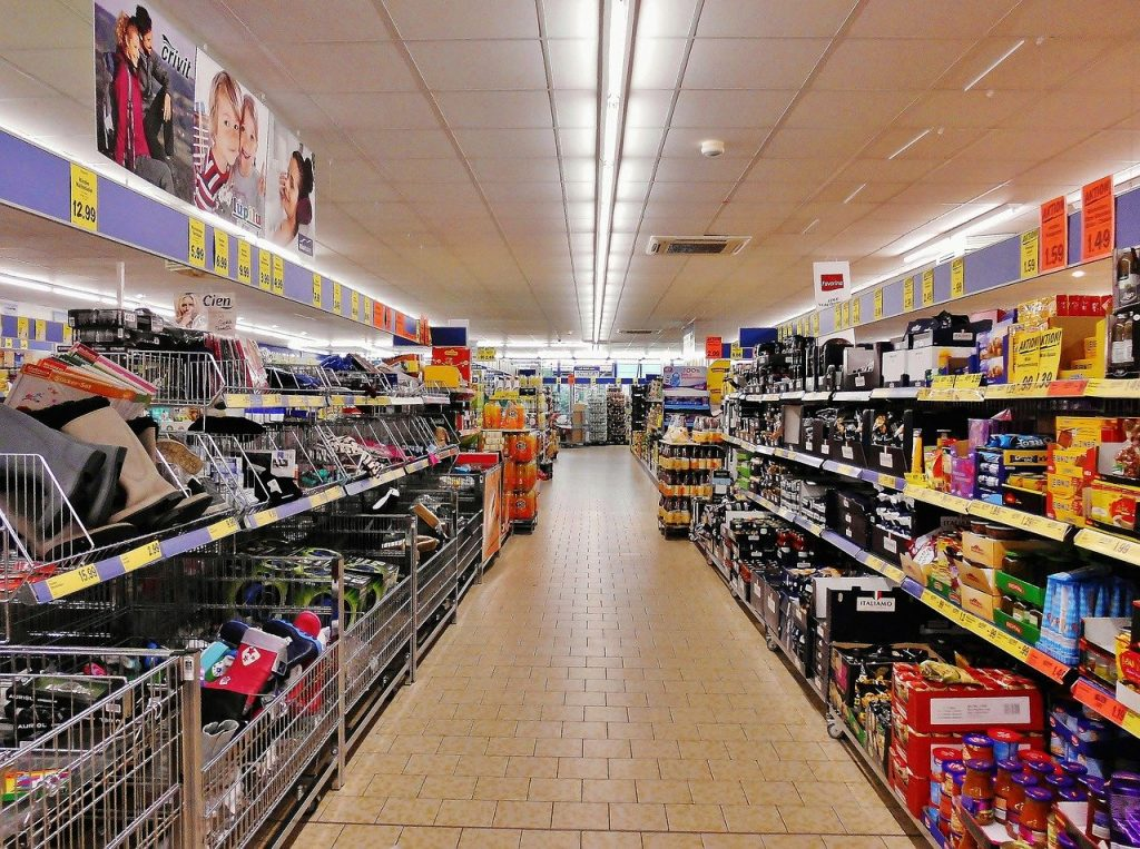 supermarket, shelves, shopping